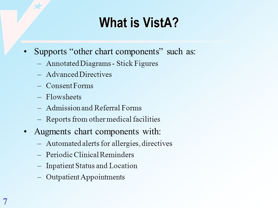 What is VistA Supports other chart components such as:
