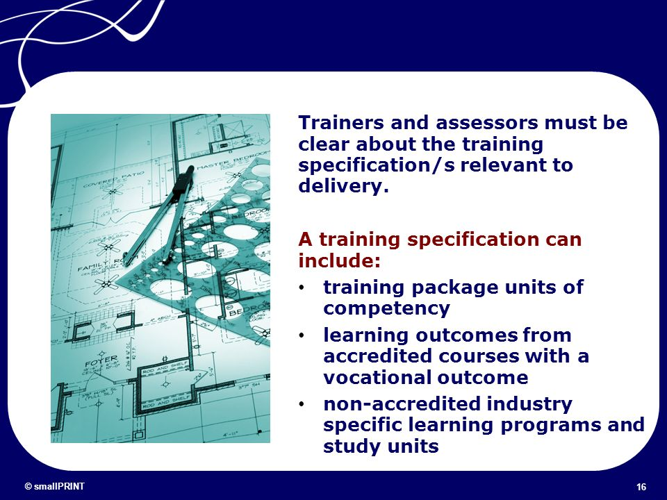 A training specification can include: