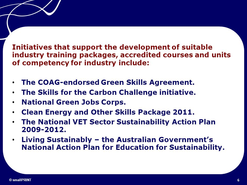 The COAG-endorsed Green Skills Agreement.
