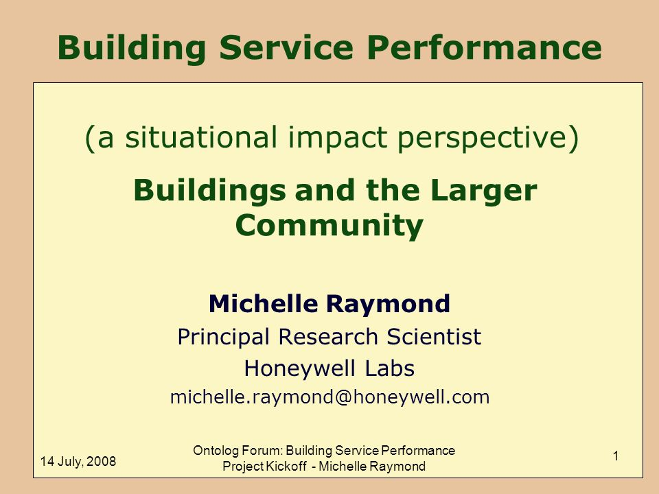 Building Service Performance Buildings and the Larger Community