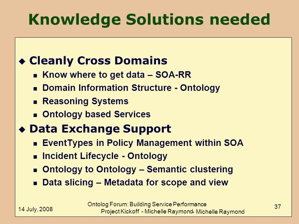 Knowledge Solutions needed