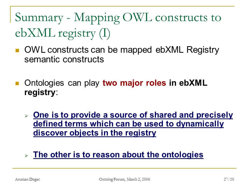Summary - Mapping OWL constructs to ebXML registry (I)