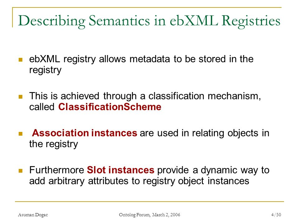 Describing Semantics in ebXML Registries