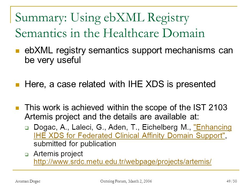 Summary: Using ebXML Registry Semantics in the Healthcare Domain