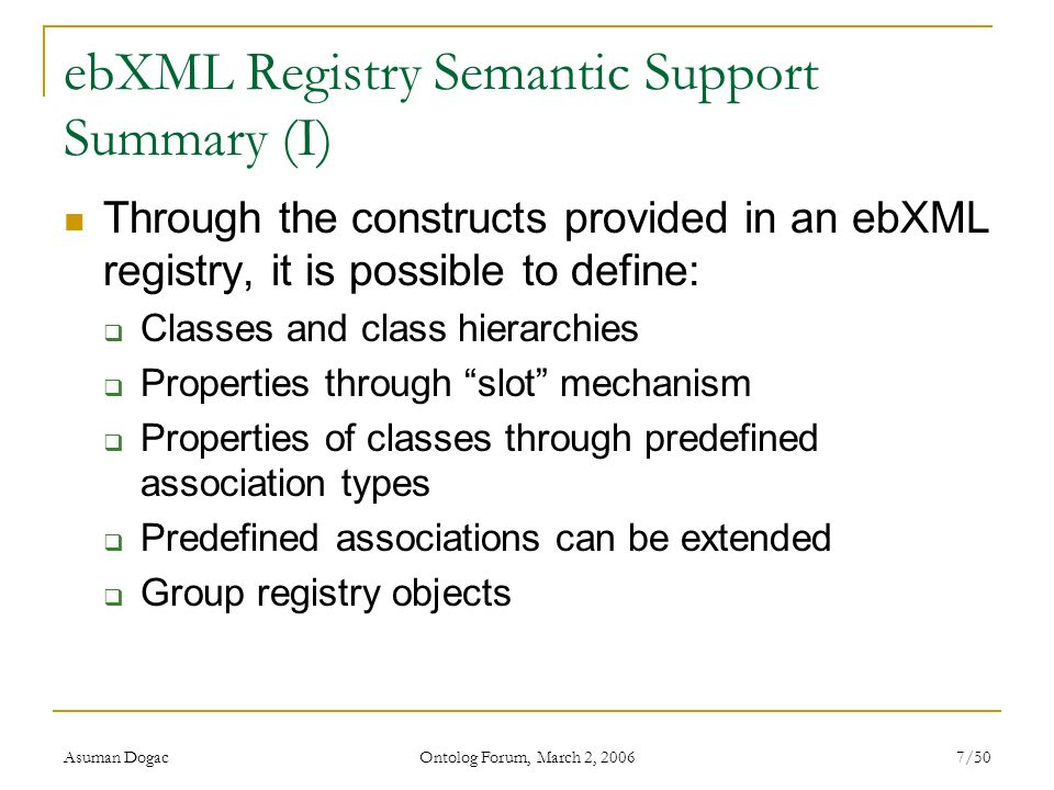 ebXML Registry Semantic Support Summary (I)