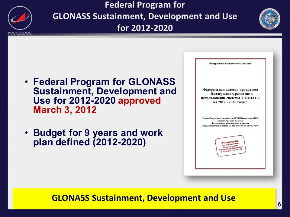 GLONASS Sustainment, Development and Use