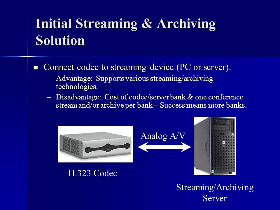 Initial Streaming & Archiving Solution