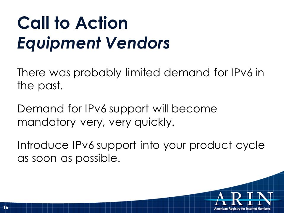 Call to Action Equipment Vendors