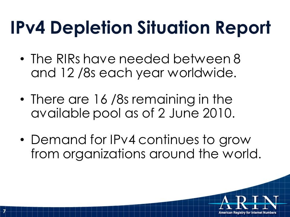IPv4 Depletion Situation Report