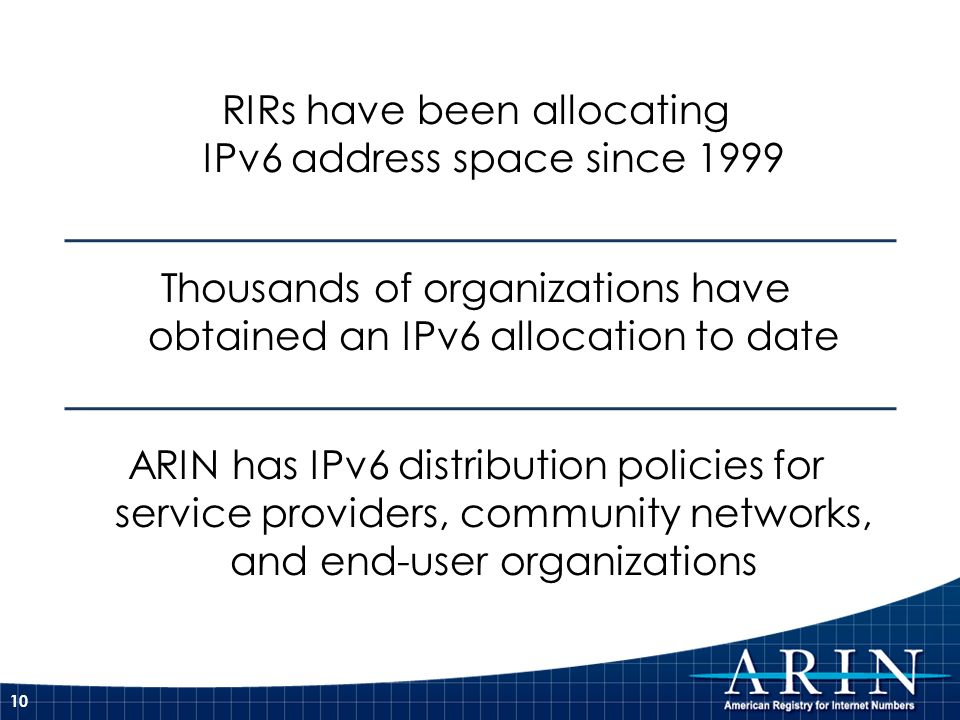 RIRs have been allocating IPv6 address space since 1999