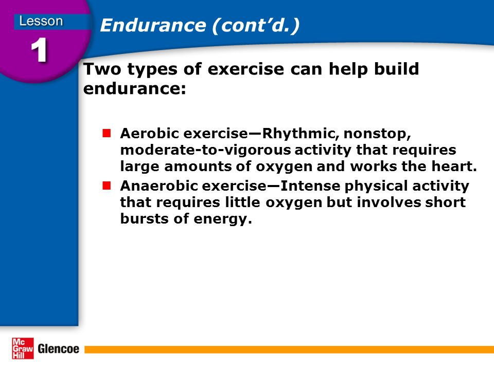 Aerobic exercise—Rhythmic, nonstop, moderate-to-vigorous activity that  requires large amounts of oxygen and works the heart.