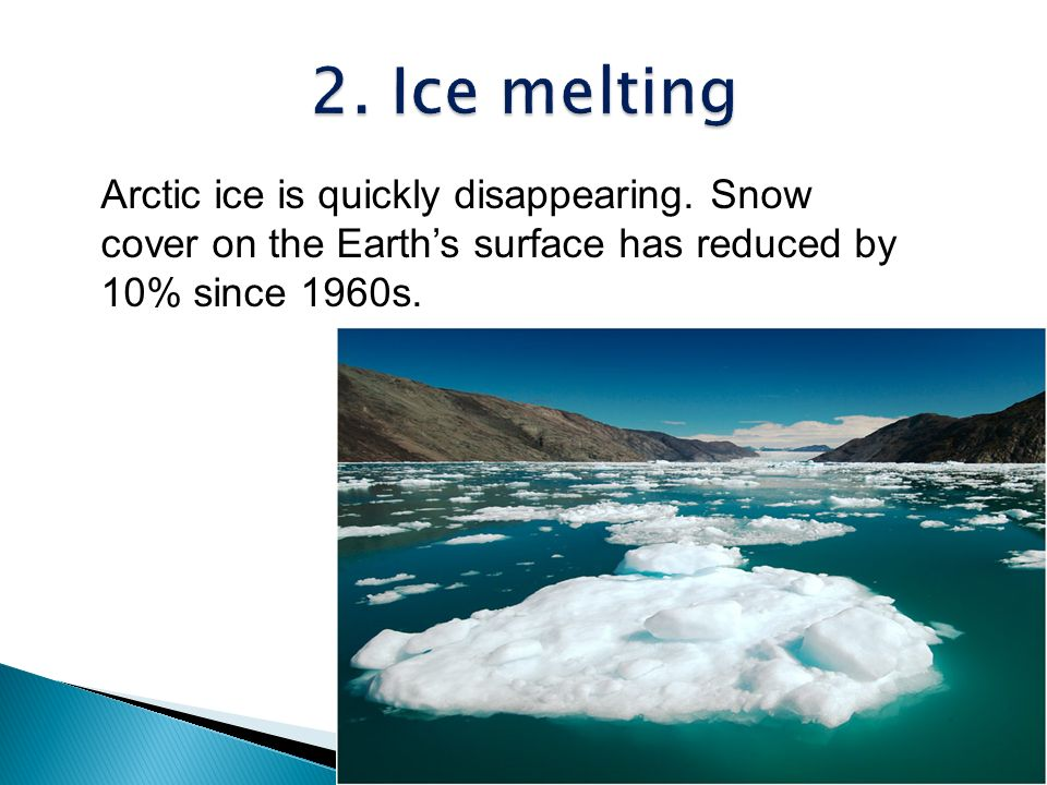2. Ice melting Arctic ice is quickly disappearing.