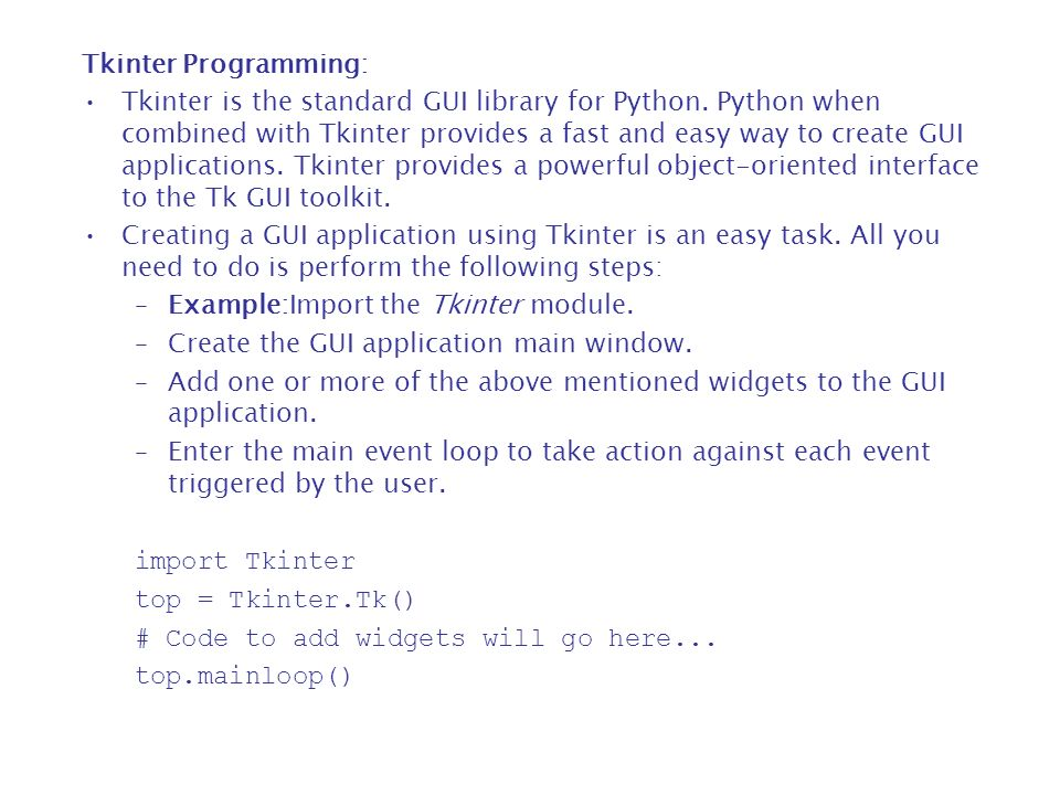18  Python - GUI Programming (Tkinter) - ppt download