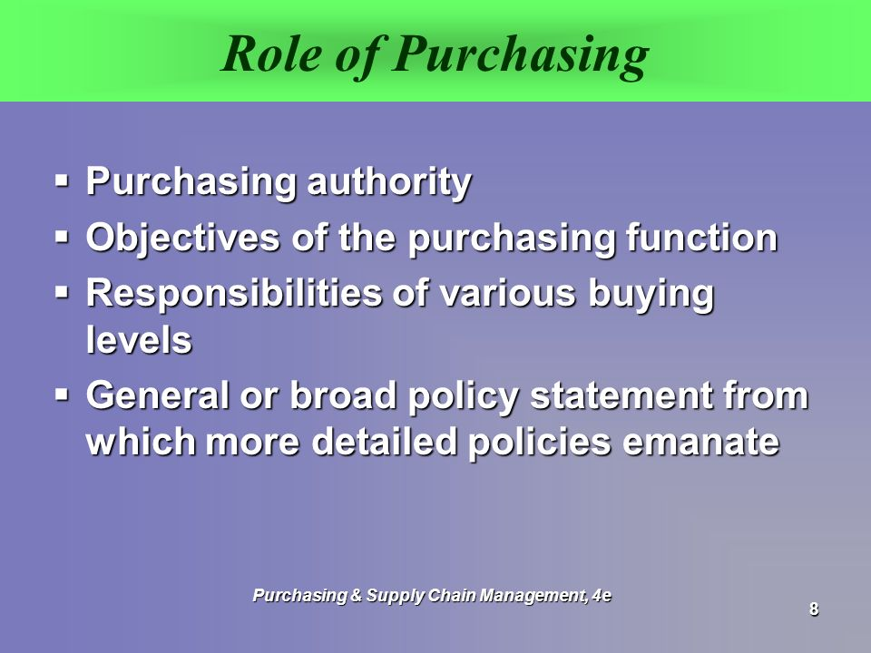 role of purchasing