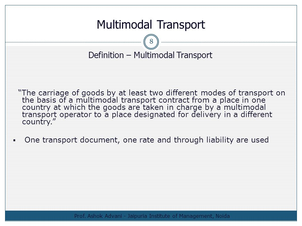 unimodal transport definition