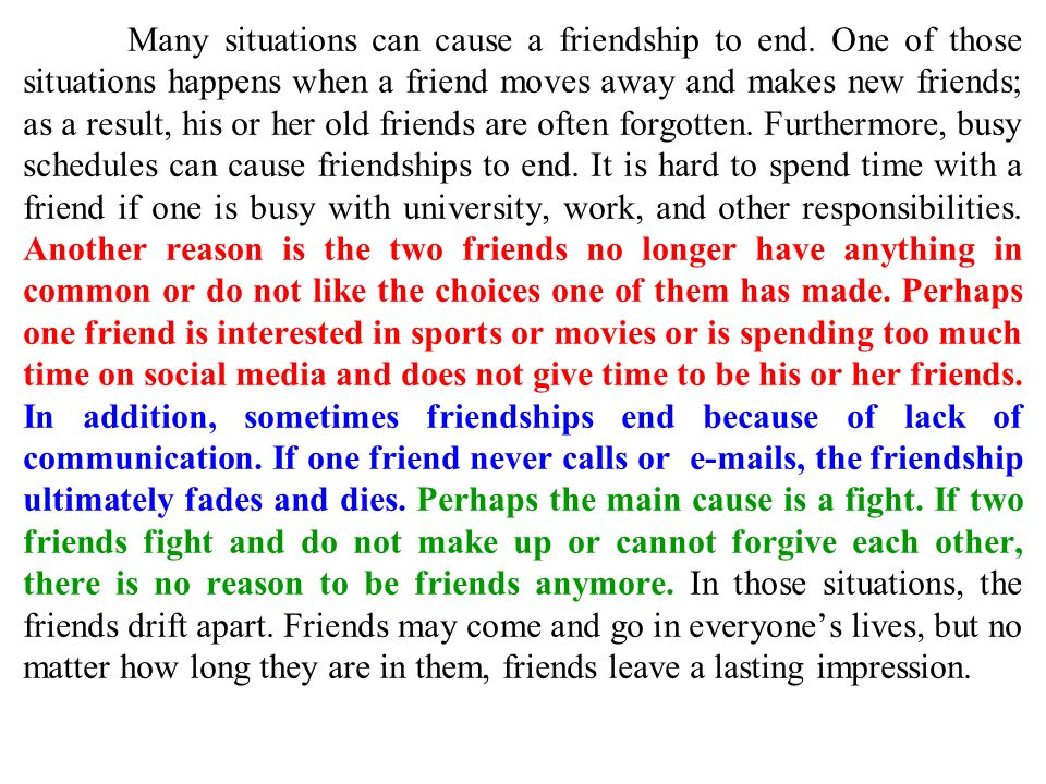 cause and effect of friendship