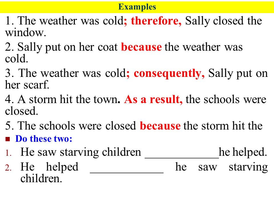 examples cause effect sentences