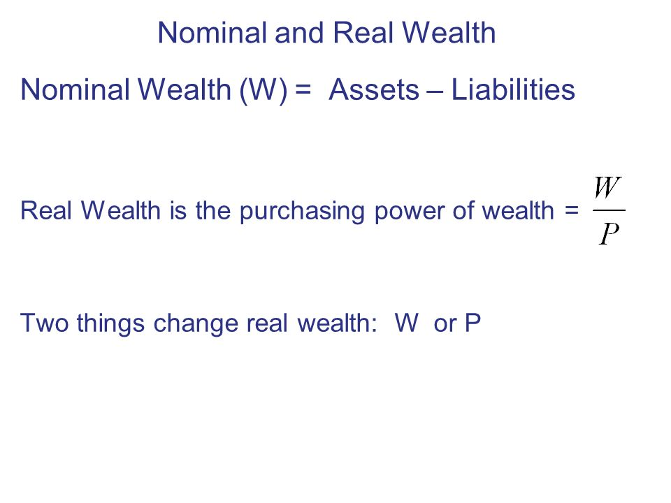 Nominal and Real Wealth