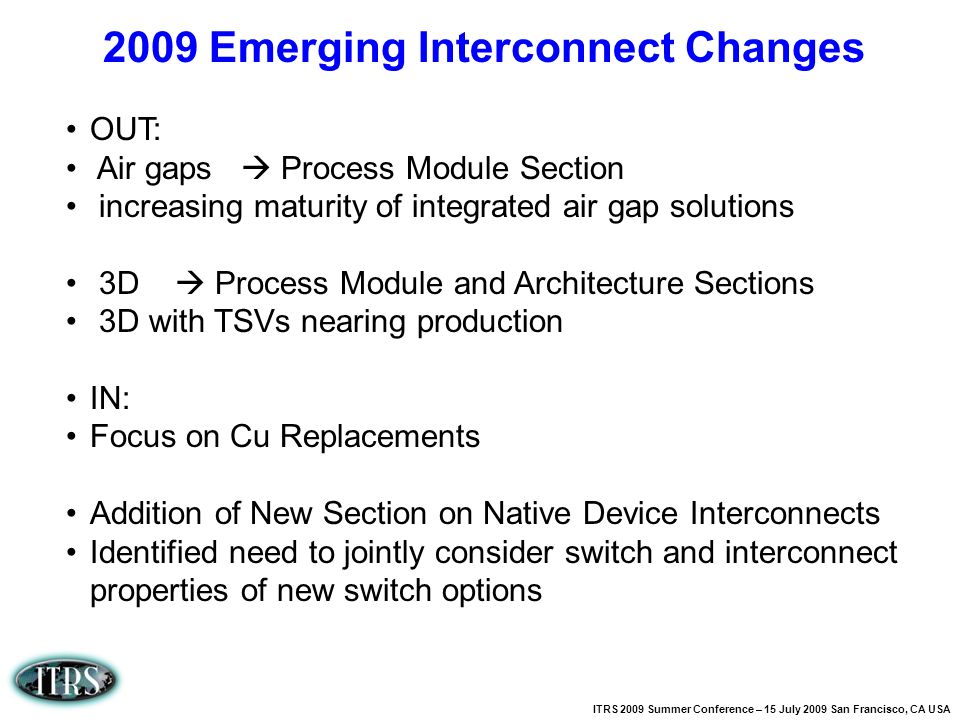 2009 Emerging Interconnect Changes
