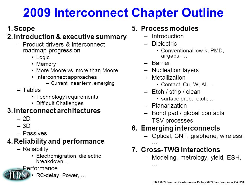 2009 Interconnect Chapter Outline