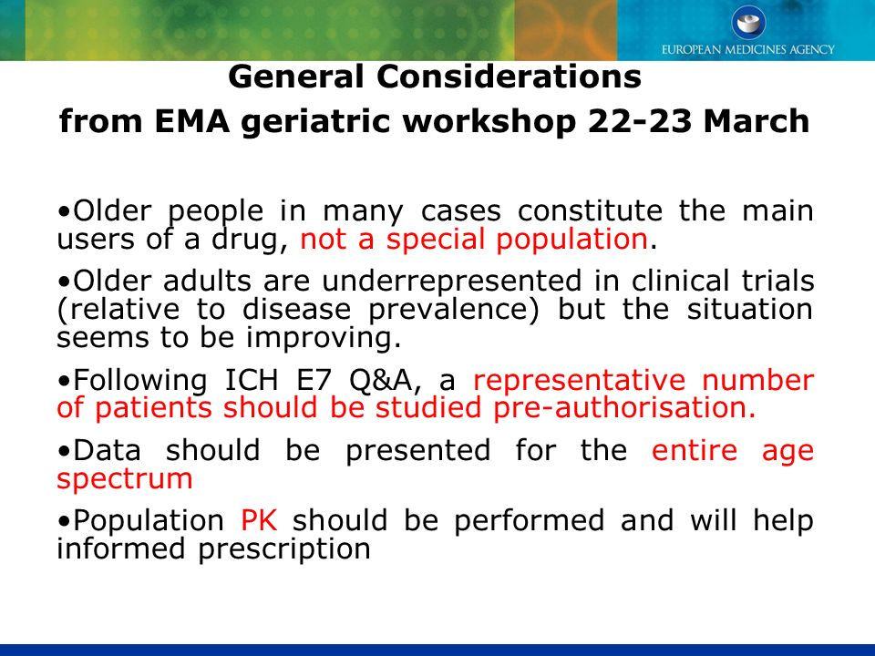 General Considerations from EMA geriatric workshop March