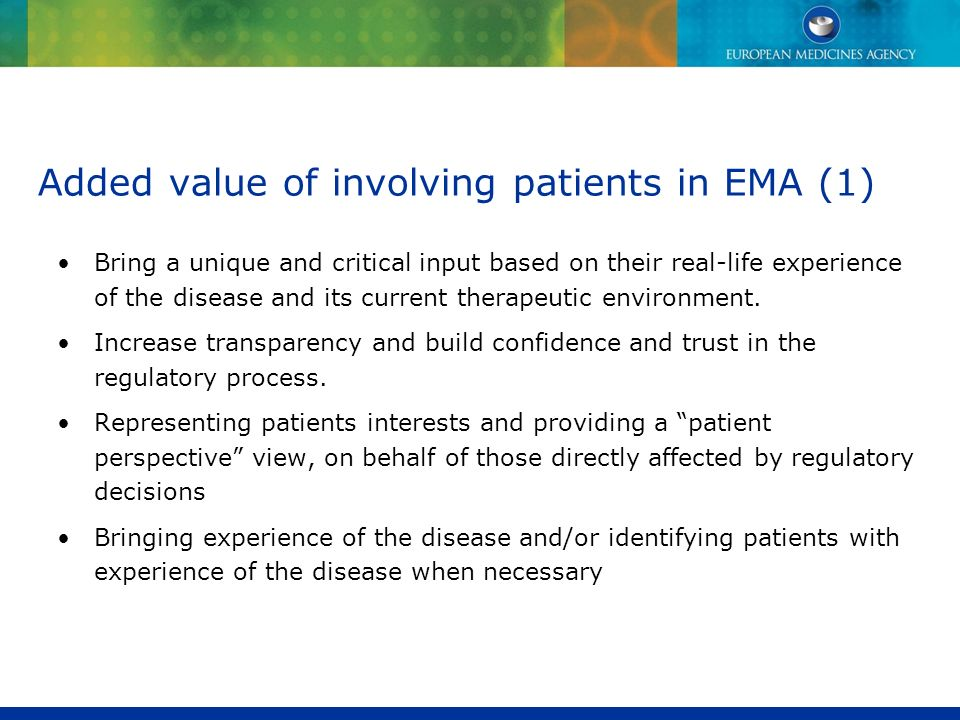 Added value of involving patients in EMA (1)