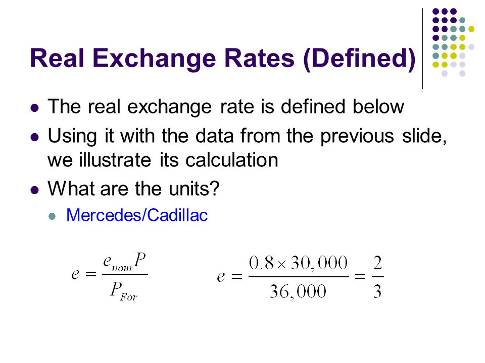 Real Exchange Rates Defined