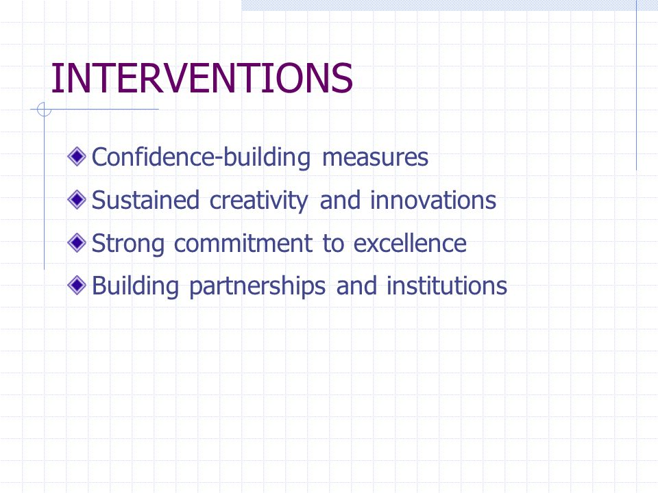 INTERVENTIONS Confidence-building measures