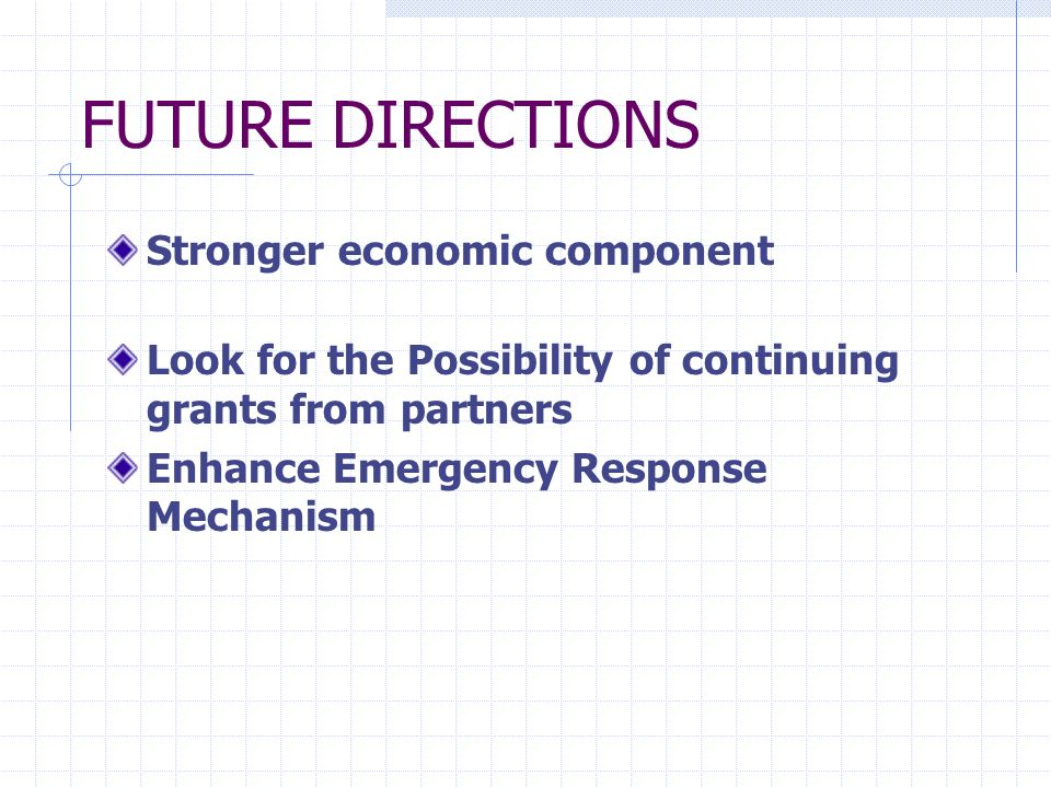 FUTURE DIRECTIONS Stronger economic component