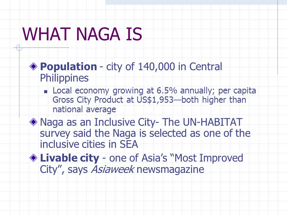 WHAT NAGA IS Population - city of 140,000 in Central Philippines
