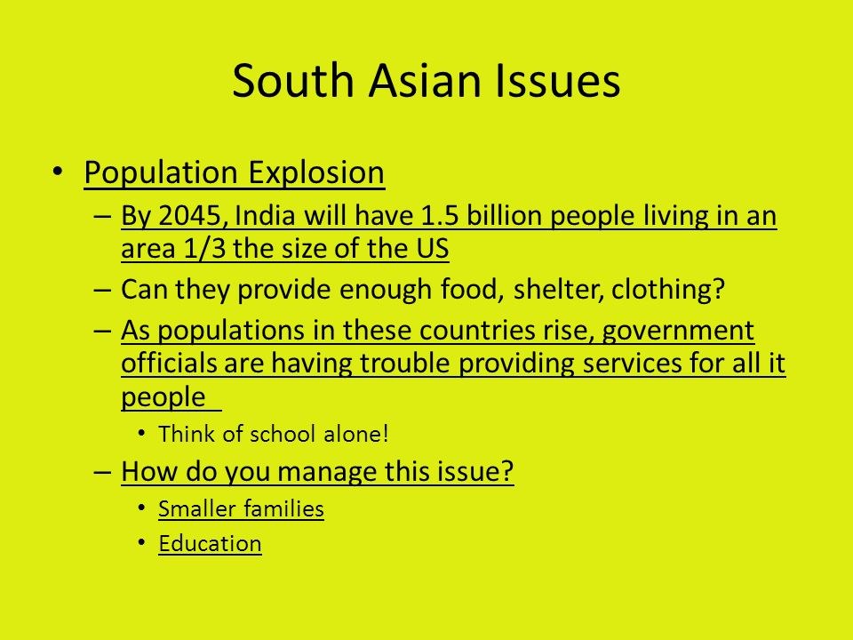 South Asian Issues Population Explosion
