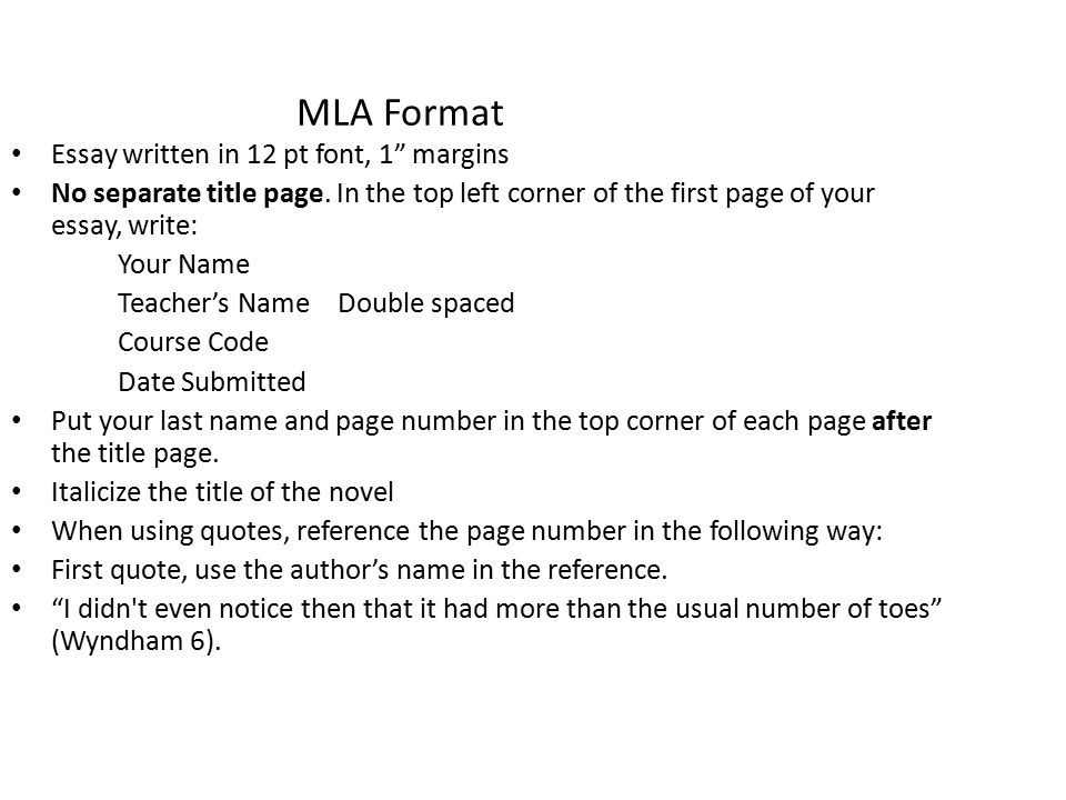 MLA Format Essay written in 12 pt font, 1 margins