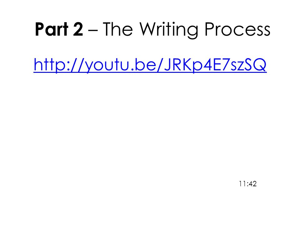 Part 2 – The Writing Process