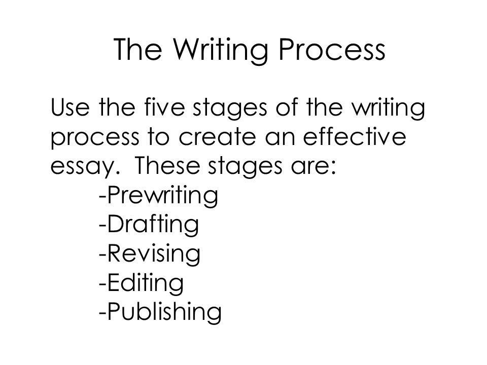 The Writing Process Use the five stages of the writing process to create an effective essay. These stages are: