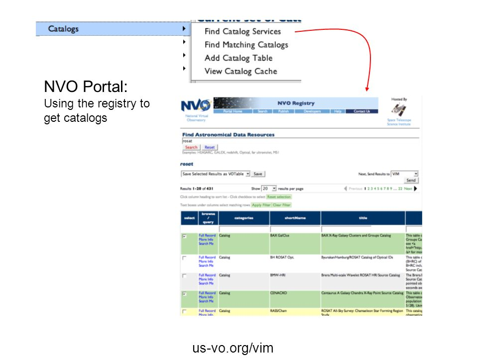NVO Portal: Using the registry to get catalogs