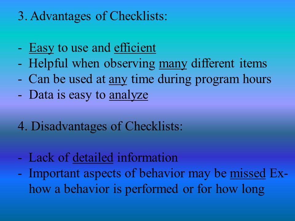 advantages of checklist observation