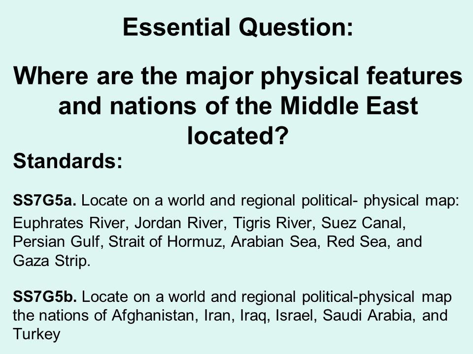 Middle East Map Euphrates River.Geography Of The Middle East Ppt Video Online Download
