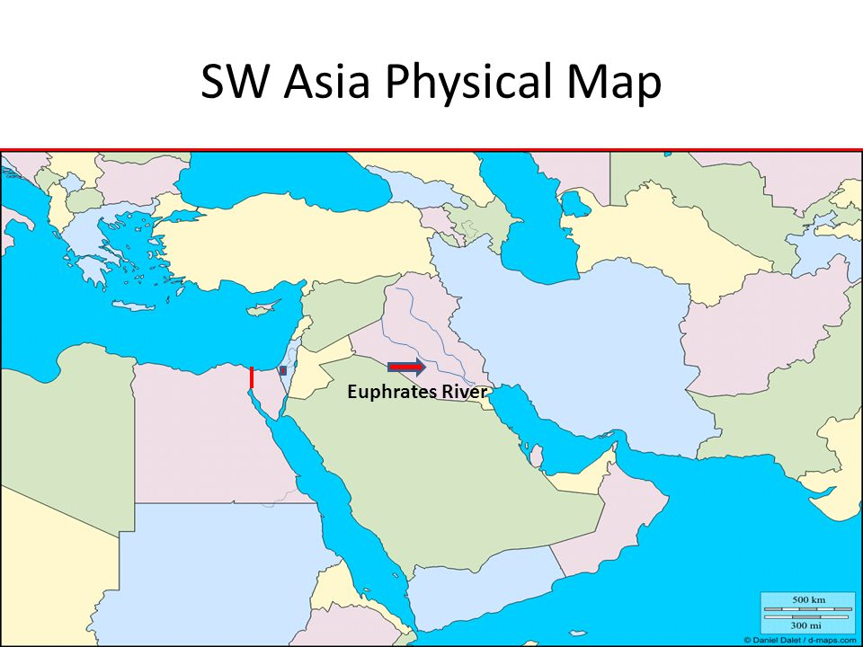 SW Asia Physical Map Euphrates River