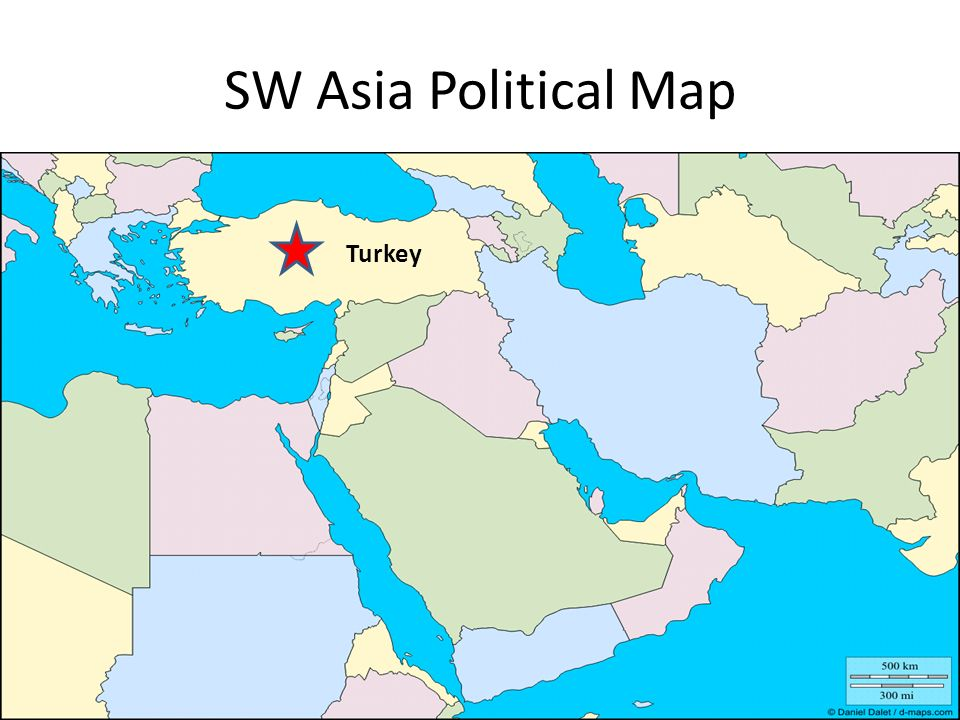 SW Asia Political Map Turkey