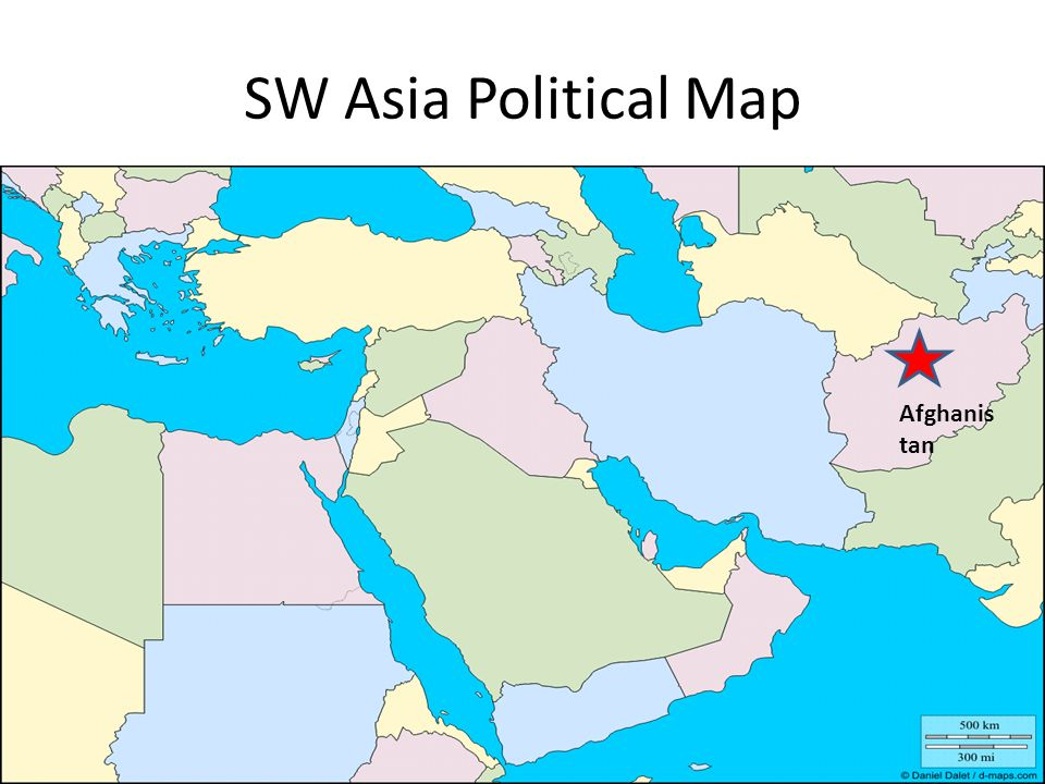 SW Asia Political Map Afghanistan