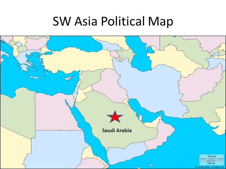 SW Asia Political Map Saudi Arabia