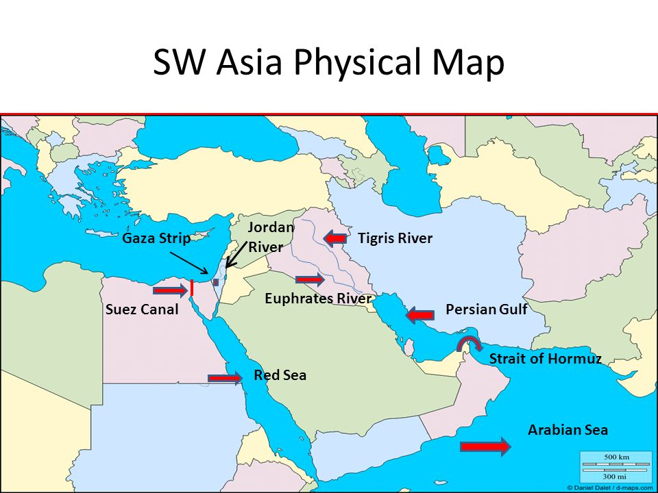 SW Asia Physical Map Jordan River Gaza Strip Tigris River