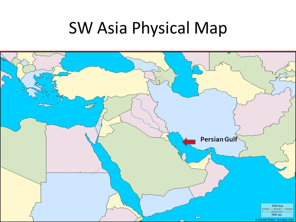 SW Asia Physical Map Persian Gulf