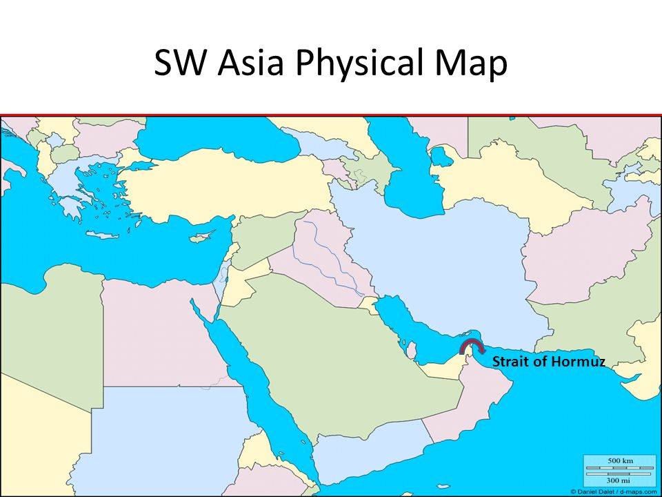SW Asia Physical Map Strait of Hormuz