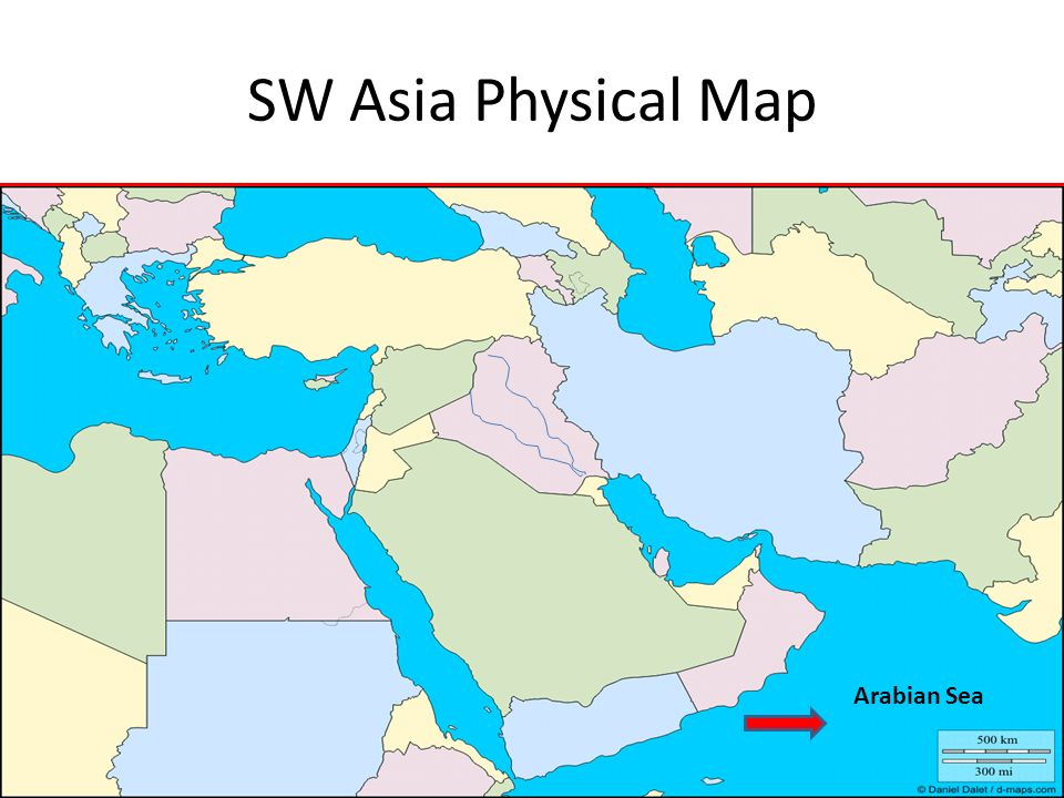 SW Asia Physical Map Arabian Sea