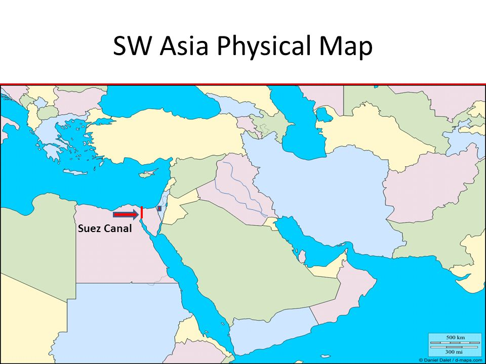SW Asia Physical Map Suez Canal