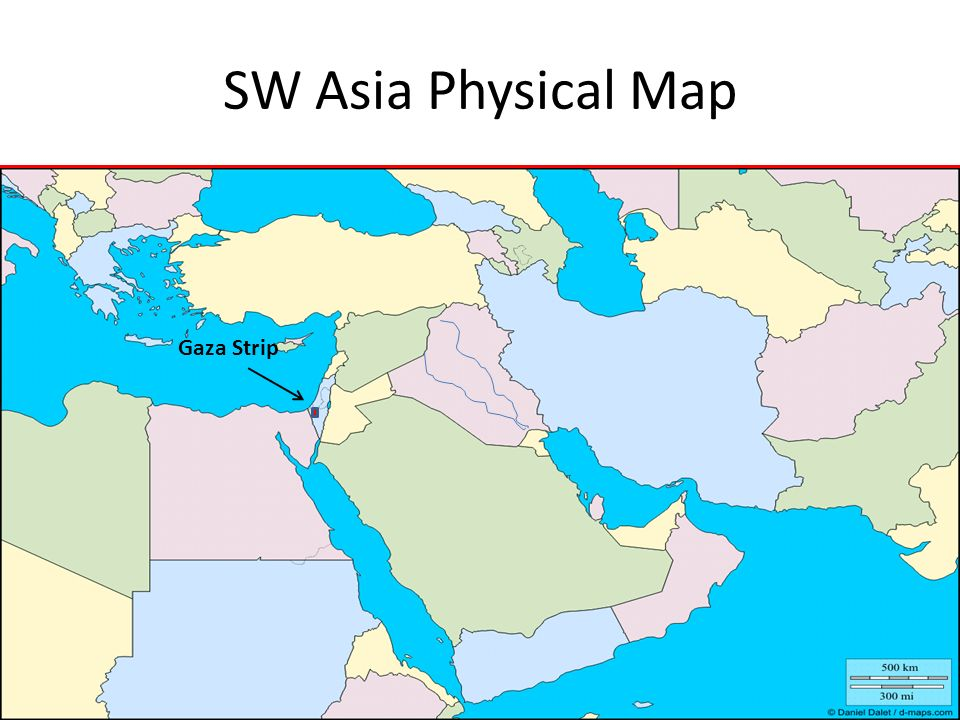 SW Asia Physical Map Gaza Strip