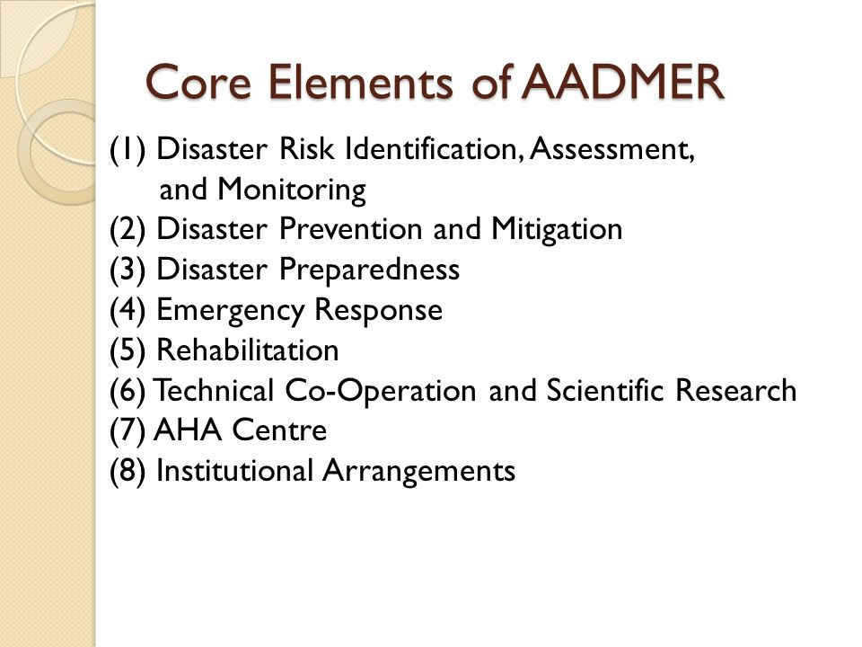 Core Elements of AADMER