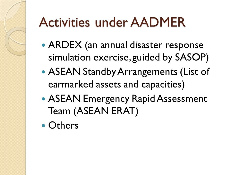 Activities under AADMER