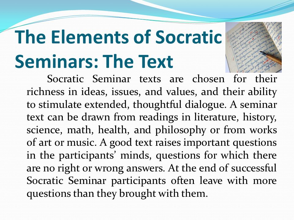 The Elements of Socratic Seminars: The Text